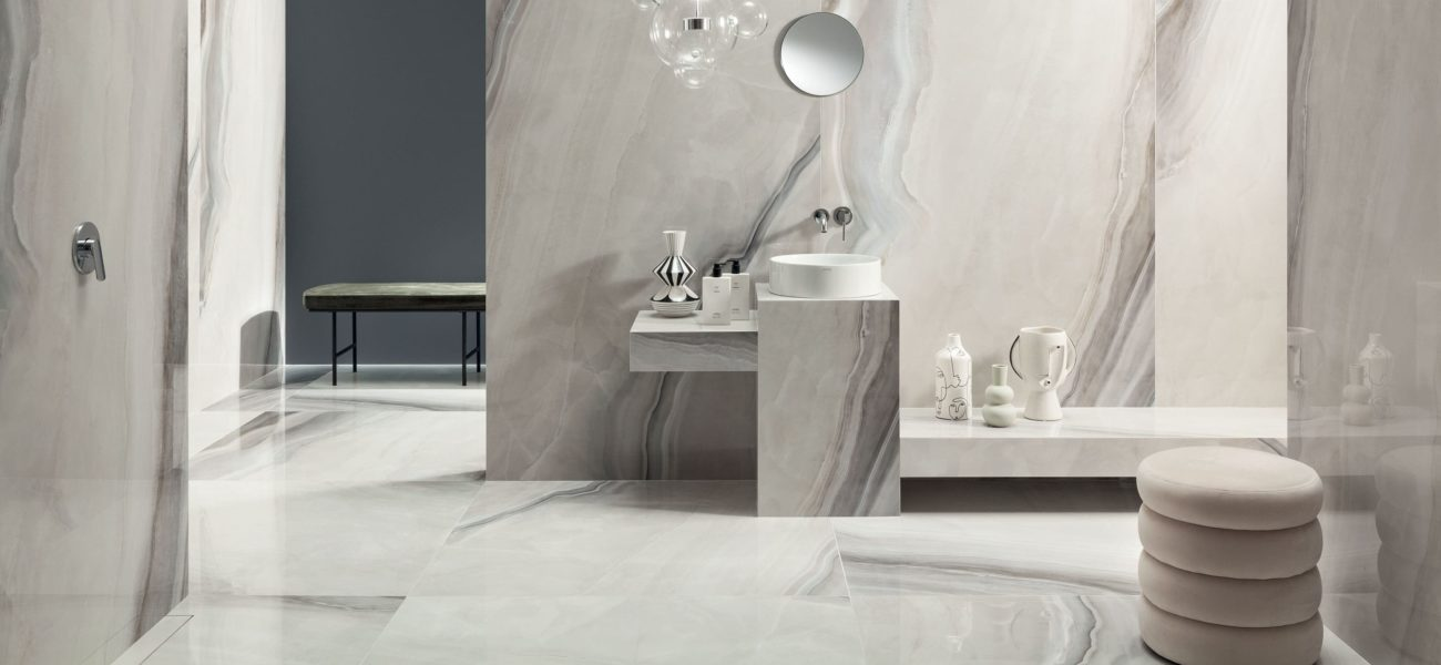 Lifestyle image of Opal White 120x120cm off-white marble polished tile from Poland.